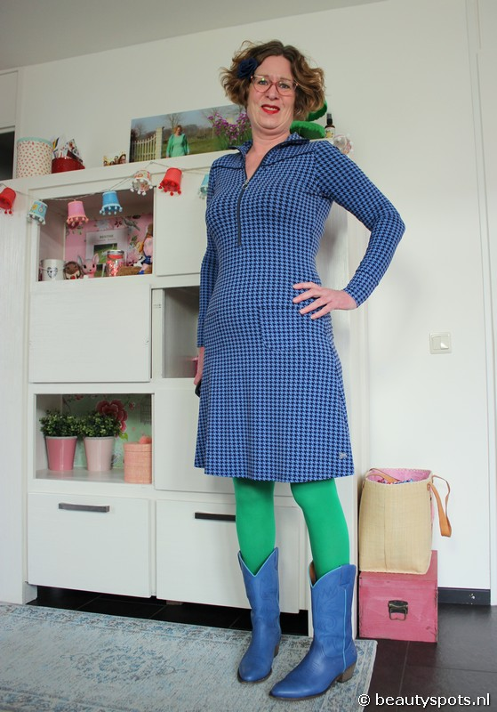 Tante Betsy Dress Sporty Houndstooth Blue